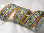 "Jacquard Ribbon 2"" (50mm) Blue Orange Yellow EMB Priced Per Yard"