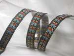 "Jacquard Ribbon 11/16 "" (18mm) Multicolor on Black priced Per Yard"