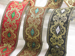 "Jacquard Ribbon 1 1/2"" (37mm) Fancy Diamond *Colors* Priced Per Yard"
