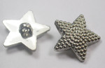 "Button 1 1/16"" ( (28.5mm) Silver Star with Bubble Detail  - Per Piece"