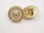 "Button 9/16"" (14mm) Gold Ivory Infil - Per Piece"
