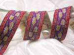 "Jacquard Ribbon 1 1/2"" (38.mm) Purple with Red Band Floral Per Yard"