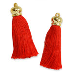 """Tassels 2 3/4"""" Drop (70mm)  with Gold Cap *Colors* 2 Pack"""