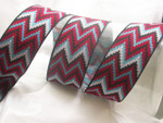 "Jacquard Ribbon 1 1/2"" (38mm) Red Turquoise White Zig Zag - Per Length"