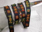 "Jacquard Ribbon 3/4"" Native Pattern On Black - 5 Yards"