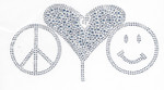 Rhinestud Applique - Peace Love & Happiness