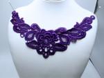 """Venise Yoke Applique Floral  10 1/2"""" x 5""""  (267mm x 127mm)  Violet"""