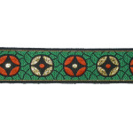 "Jacquard Ribbon 1"" Green Red & Gold 5 yards"