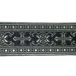 "Jacquard Ribbon 2 1/4"" Black & Metallic Silver Gothic"