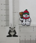 Iron On Patch Applique - Snowman with Broom