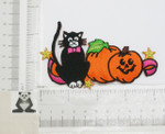 Iron On Patch Applique - Halloween Pumpkin Lantern & Cat