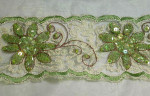 Green Embroidered & Sequin Fancy Floral Sheer Trim