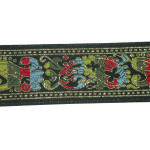 "Jacquard Ribbon 1 9/16"" Black Multi Paisley 50 Yards"