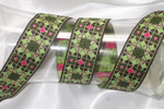 "Jacquard Ribbon 1 1/2"" Geometric Green Gold"