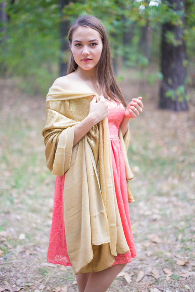 Gold Shimmer Wedding Shawls and Scarves