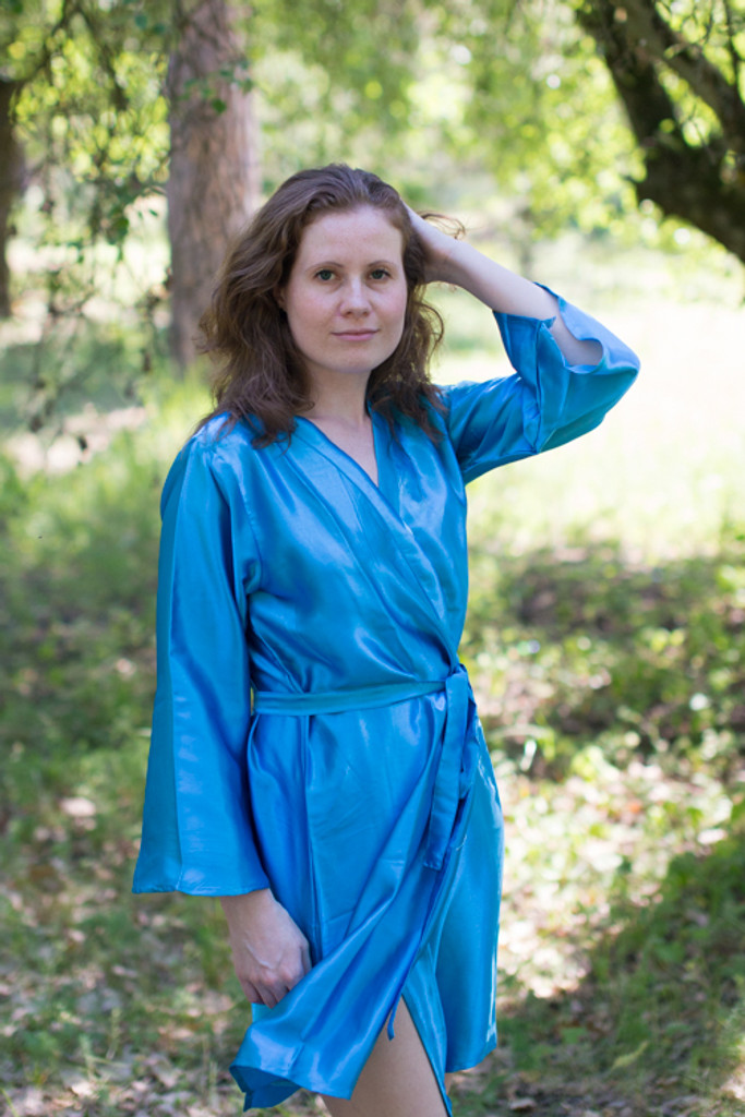 Plain Silk Robes for bridesmaids - Solid Blue Color | Getting Ready Bridal Robes