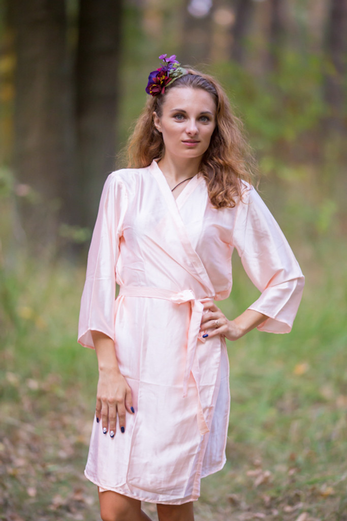 Plain Silk Robes for bridesmaids - Solid Blush Peach Color | Getting Ready Bridal Robes