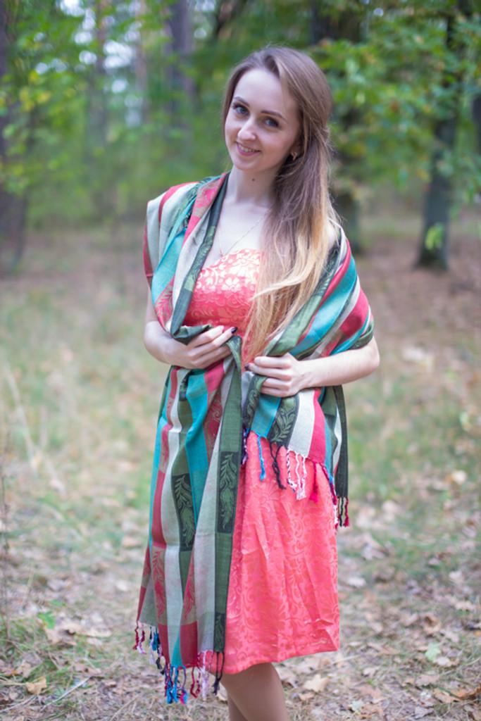 Multicolored Striped Leafy Pashmina Warm Shawls