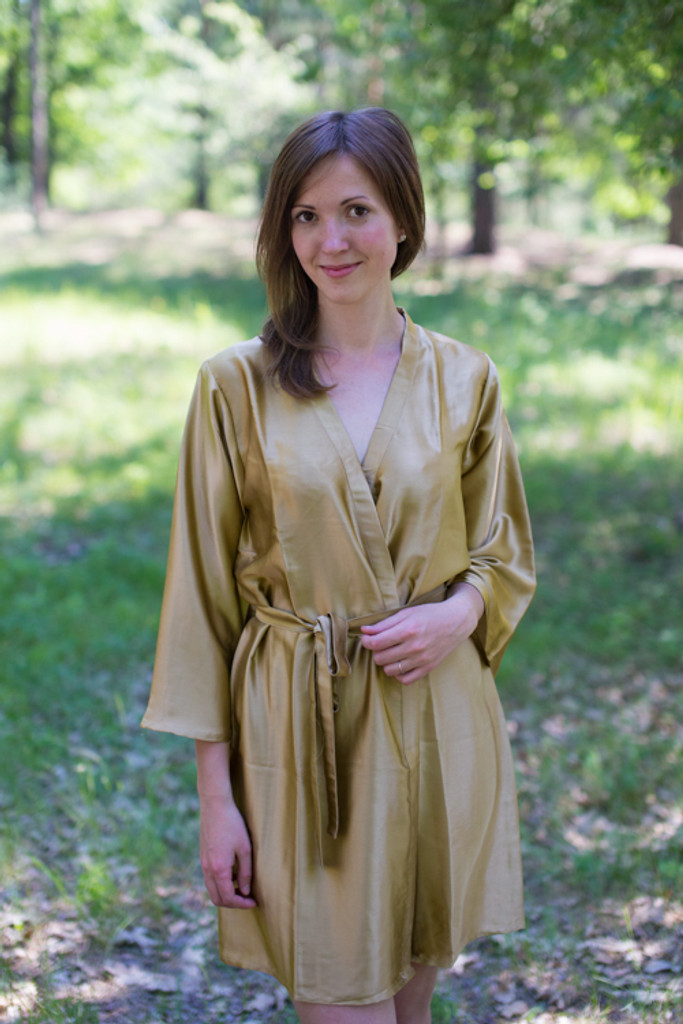 Plain Silk Robes for bridesmaids - Solid Dull Gold Color | Getting Ready Bridal Robes