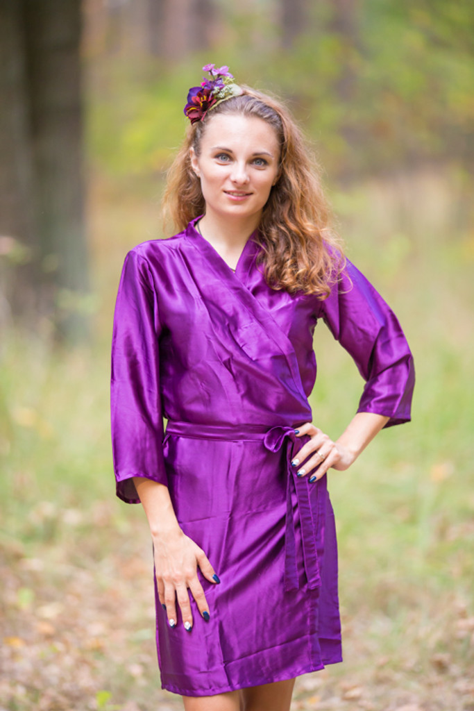 Plain Silk Robes for bridesmaids - Solid Eggplant Color | Getting Ready Bridal Robes