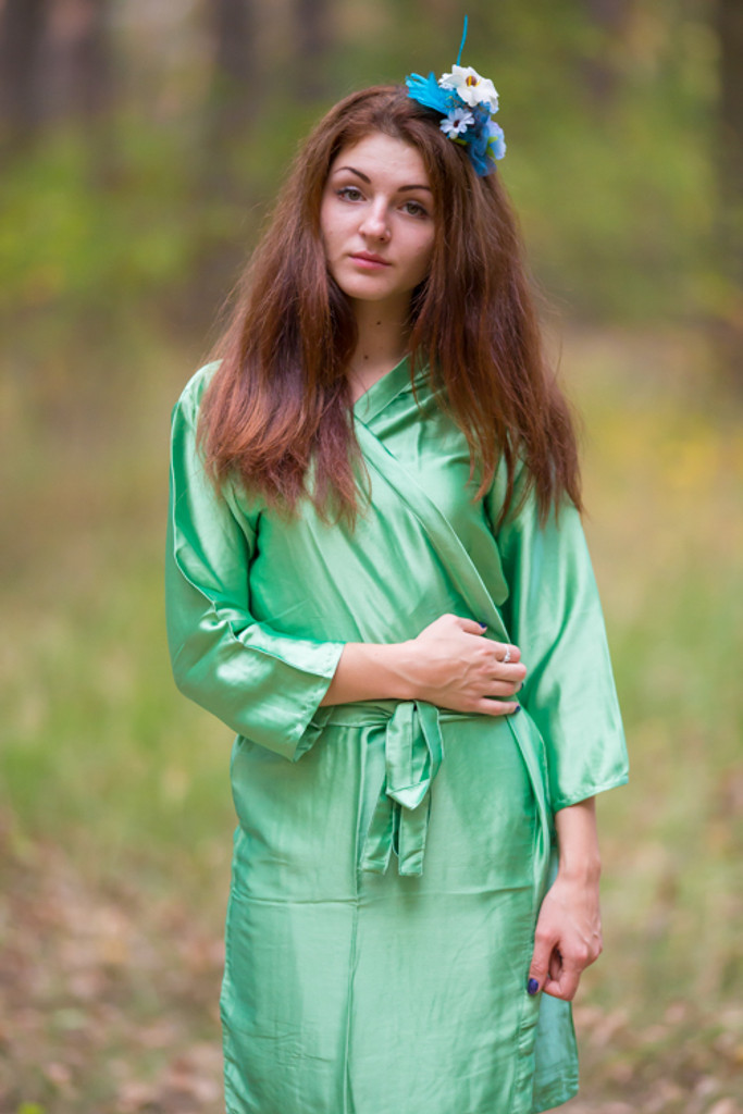Plain Silk Robes for bridesmaids - Solid Green Color | Getting Ready Bridal Robes