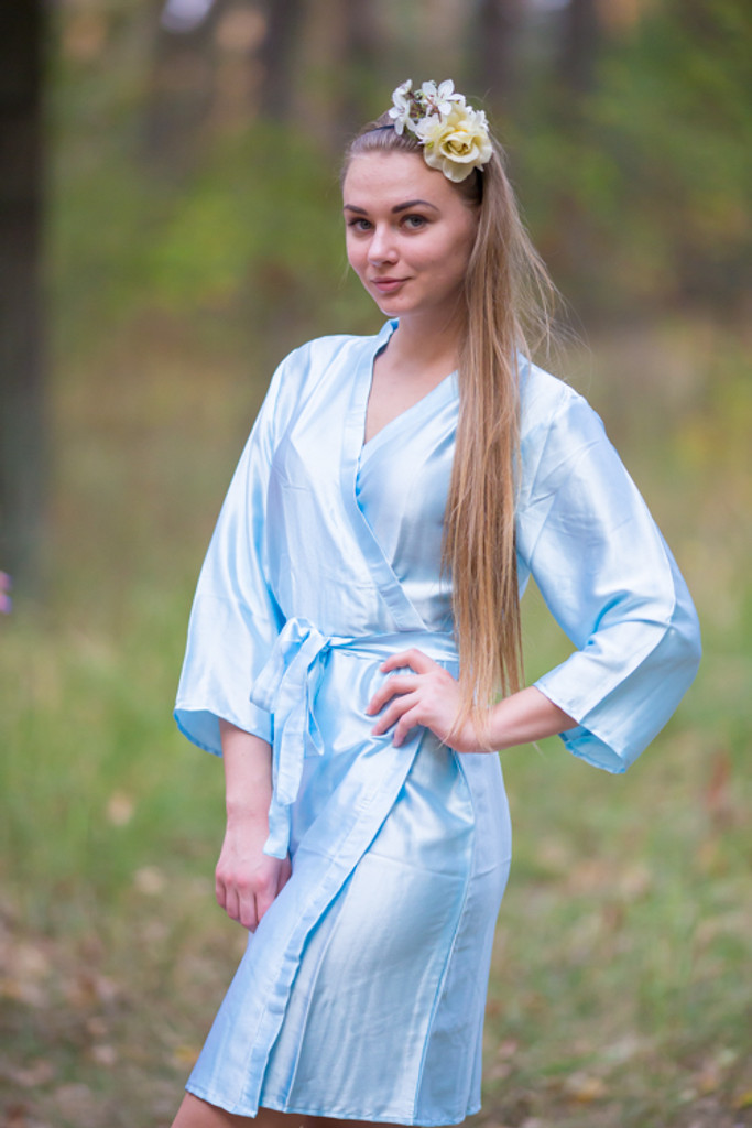 Plain Silk Robes for bridesmaids - Solid Light Blue Color | Getting Ready Bridal Robes