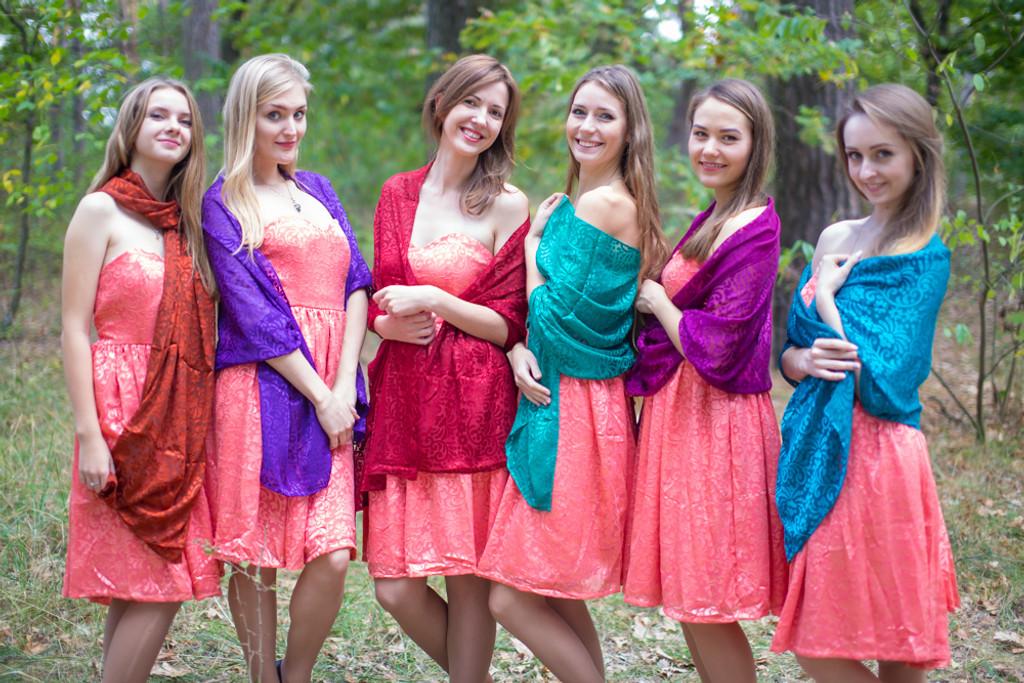 Silk Devore Jewel Toned Scarves