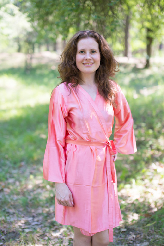 Plain Silk Robes for bridesmaids - Solid Salmon Rose Color | Getting Ready Bridal Robes