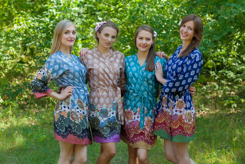 Mismatched Floral Bordered Robes in bright tones
