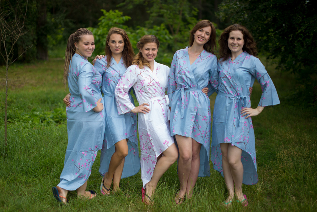 Cherry Blossoms High Low Bridesmaids Robes
