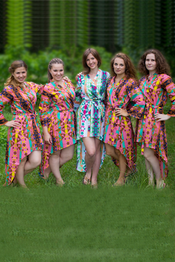 Diamond Aztec High Low Bridesmaids Robes