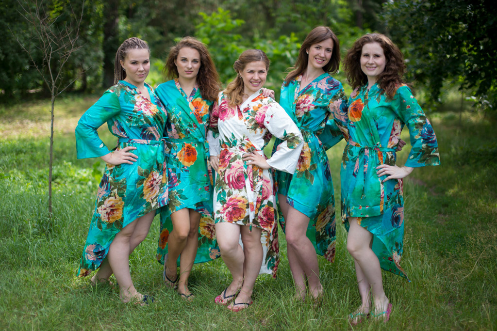 Large Floral Blossom High Low Bridesmaids Robes