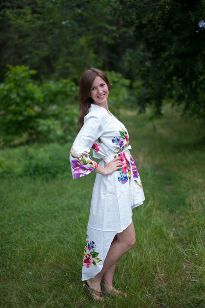 One Long Flower High Low Bridesmaids Robes
