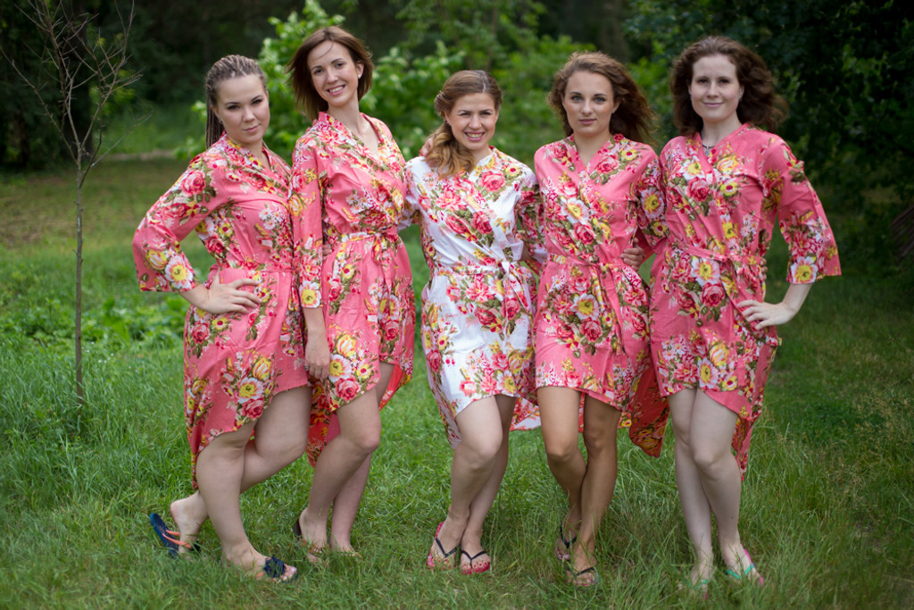 Rosy Red Posy High Low Bridesmaids Robes