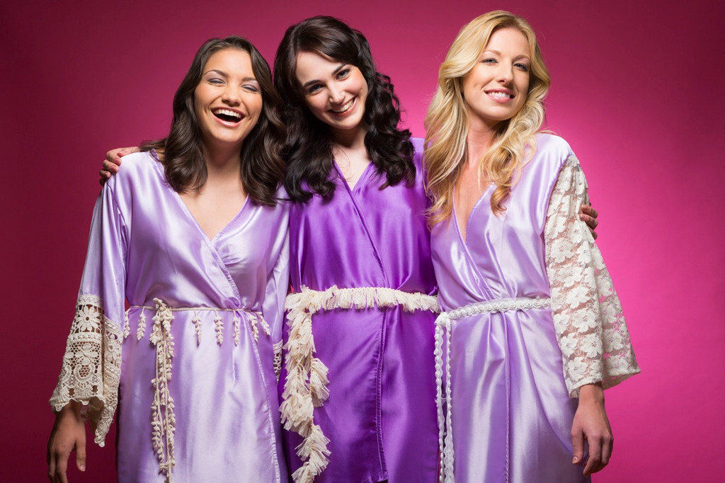 Lilac and Purple Luxurious Silk Lace Robes