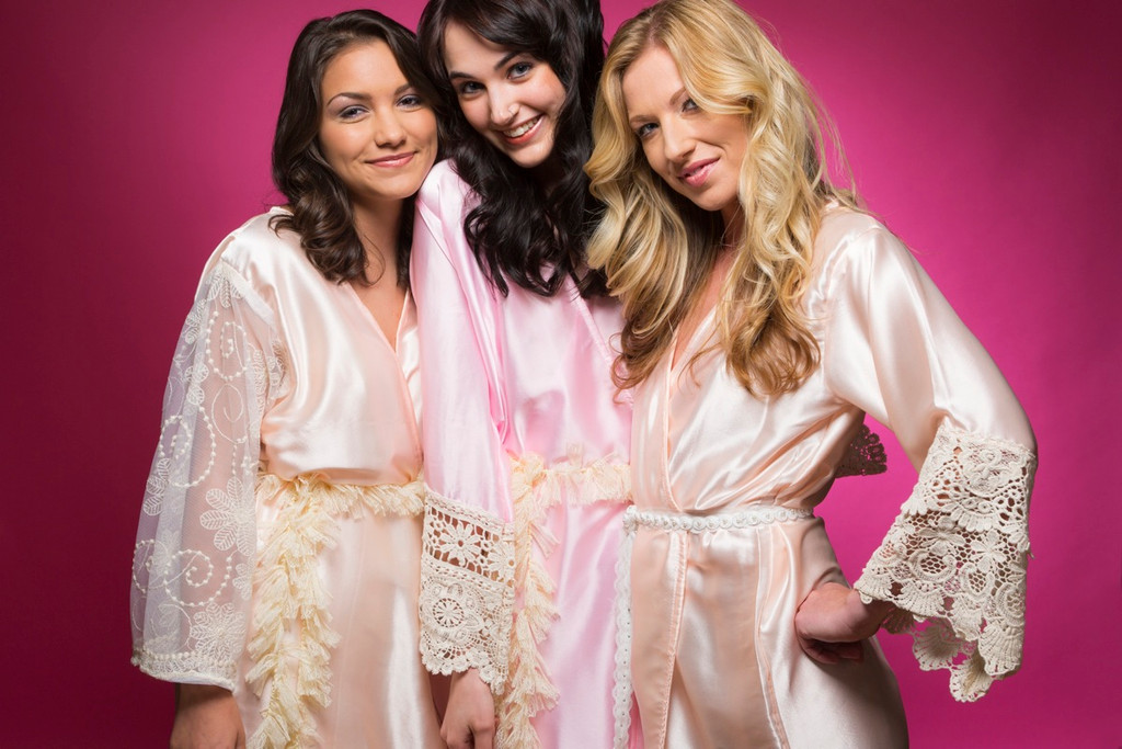 Pink and Peach Luxurious Silk Lace Robes
