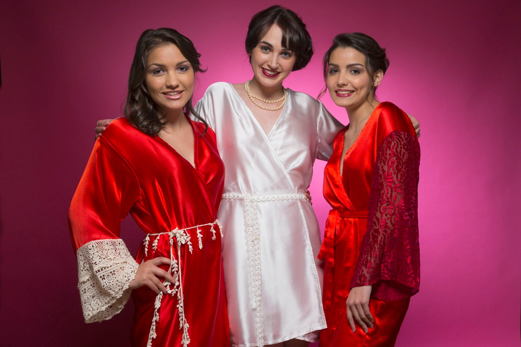 Ruby Red Luxurious Silk Lace Robes