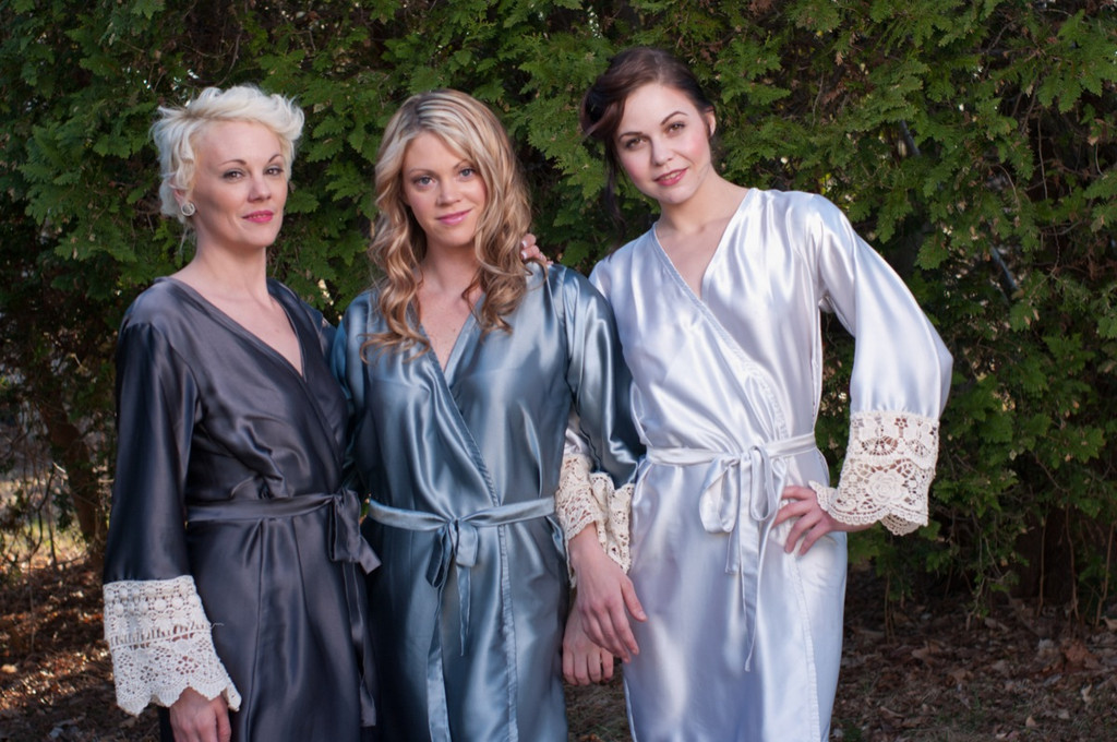 Silver and Gray Luxurious Silk Lace Robes