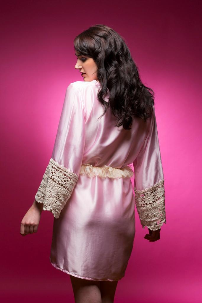 Baby Pink Silk Lace Bridesmaids Robe