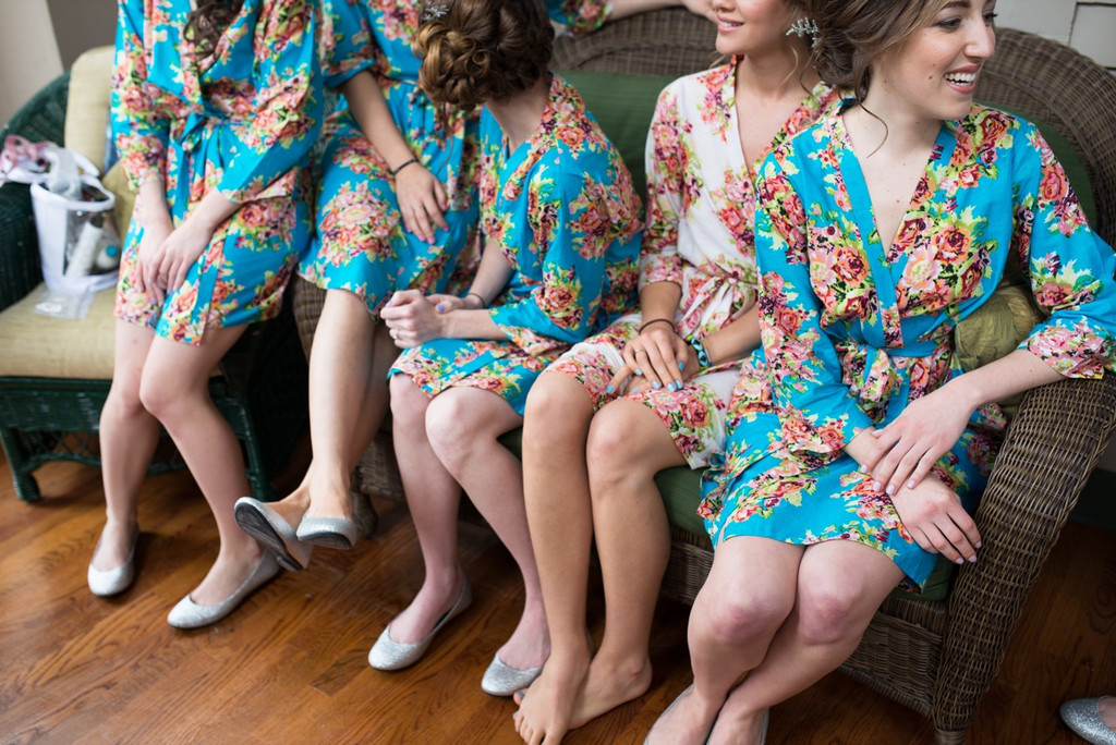 Blue Floral Posy Robes for bridesmaids | Getting Ready Bridal Robes