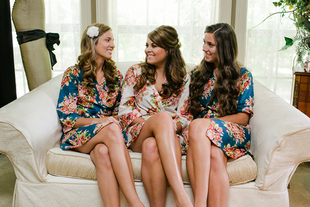 Dark Blue Floral Posy Robes for bridesmaids | Getting Ready Bridal Robes