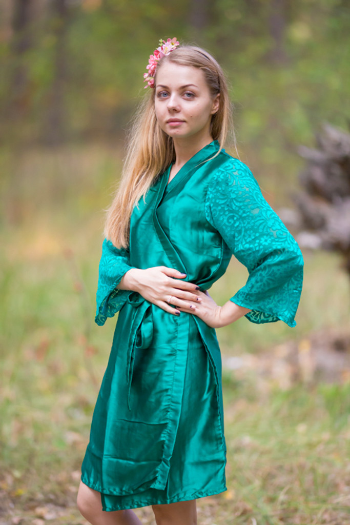 Dark Green Luxurious Silk Robe with Silk Chiffon Devore Sleeves