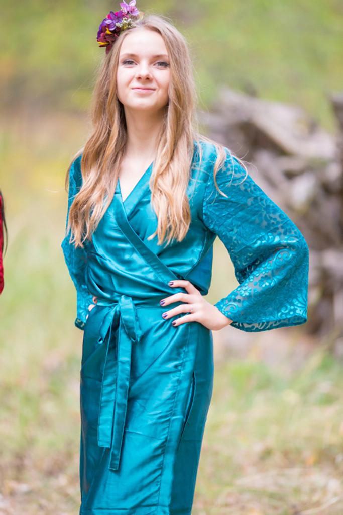 Dark Teal Luxurious Silk Robe with Silk Chiffon Devore Sleeves