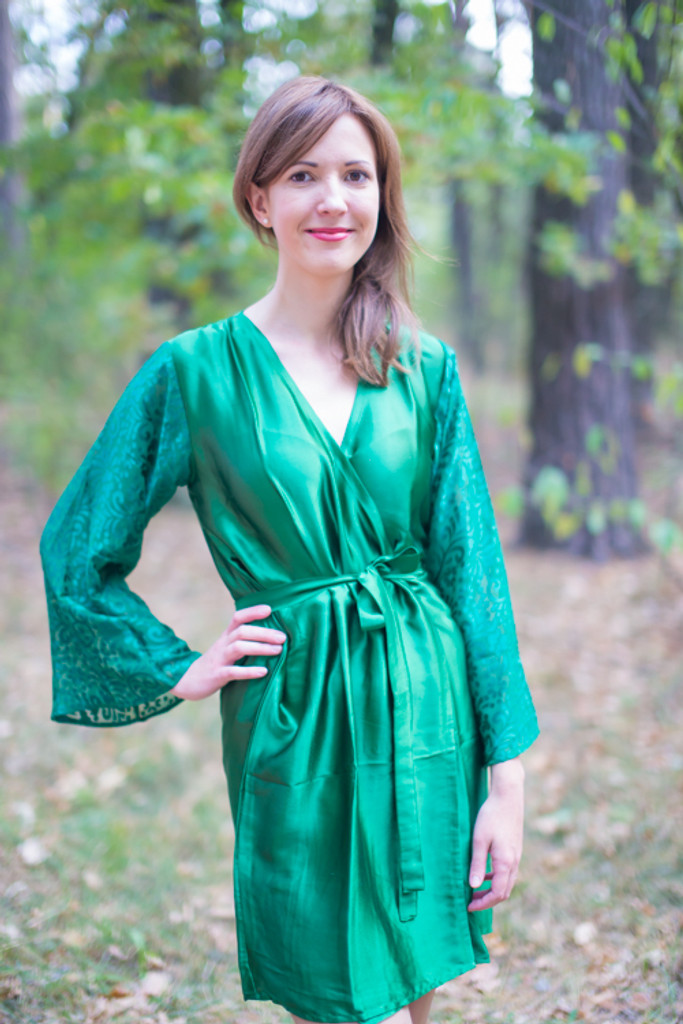 Emerald Green Luxurious Silk Robe with Silk Chiffon Devore Sleeves