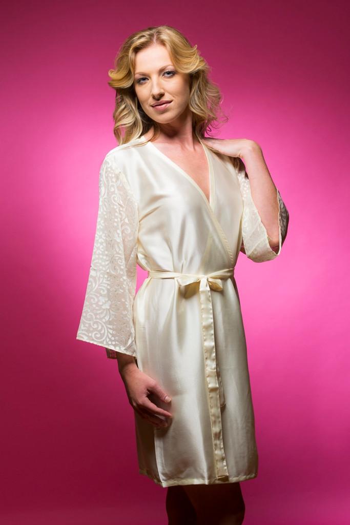 Ivory Luxurious Silk Robe with Silk Chiffon Devore Sleeves
