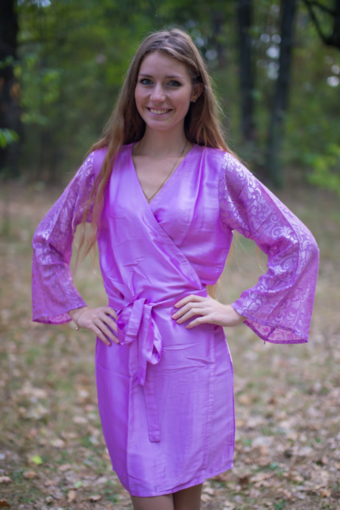 Lilac Luxurious Silk Robe with Silk Chiffon Devore Sleeves