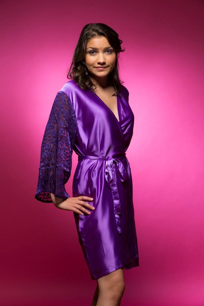 Purple Luxurious Silk Robe with Silk Chiffon Devore Sleeves