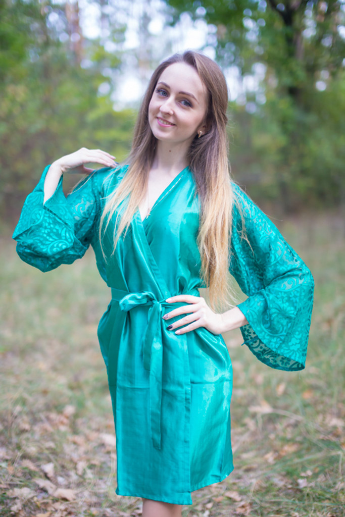 Teal Luxurious Silk Robe with Silk Chiffon Devore Sleeves