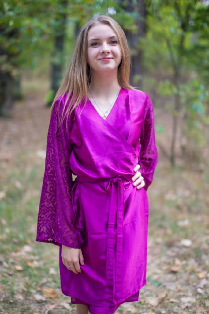 Wine Luxurious Silk Robe with Silk Chiffon Devore Sleeves