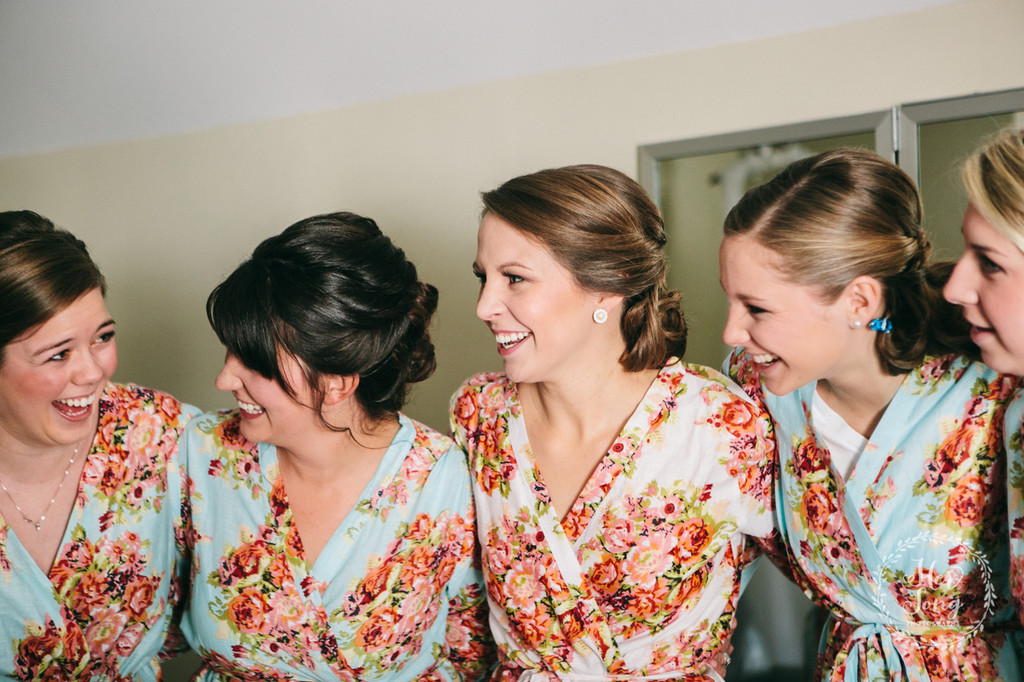 Light Blue Floral Posy Robes for bridesmaids | Getting Ready Bridal Robes